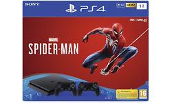 Sony PlayStation 4 Slim 1TB Black + 2 Dual Shock Controllers + Spider-Man