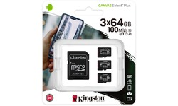 Kingston Canvas Select Plus MicroSDXC UHS-I 64GB + Adapter 3-pack