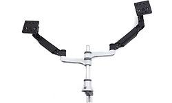 HE Brand R-Go Zepher 4 Twin Monitor Arm Silver