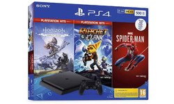 PlayStation 4 Slim 500GB Black + Spiderman + Horizon: Zero Dawn + Ratchet & Clank