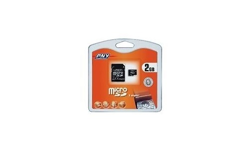 PNY MicroSD 2GB + 2 adapters