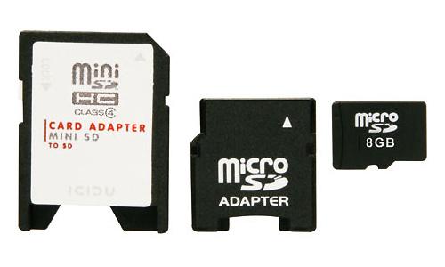 Icidu MicroSDHC 8GB + 2 adapters