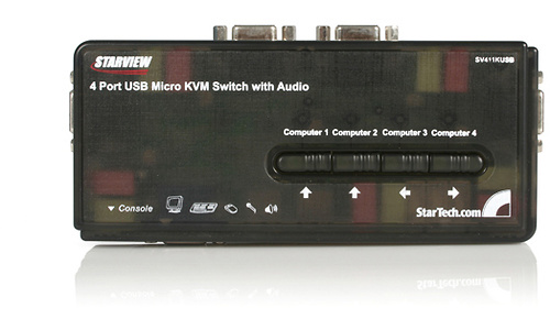 StarTech.com StarView 4 Port Mini USB KVM kit with Cables and Audio Switching