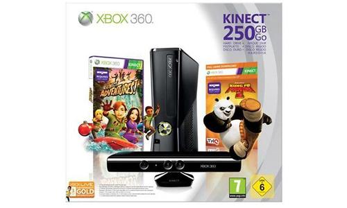 Microsoft Xbox 360 250GB + Kinect Adventures + Kung Fu Panda 2
