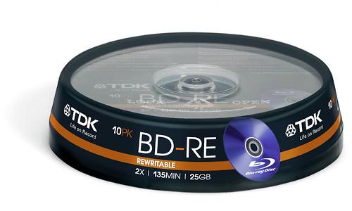TDK BD-RE 2x 10pk Spindle