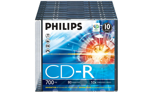 Philips CD-R 52x 10pk Slim case