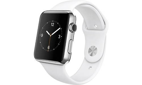 Apple Watch 42mm Stainless Steel Case, White Sport Band