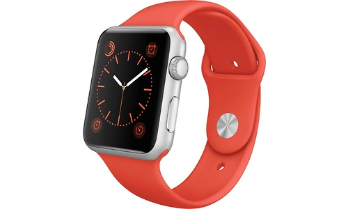 Apple Watch 42mm Silver Aluminium Case, Orange Sport Band