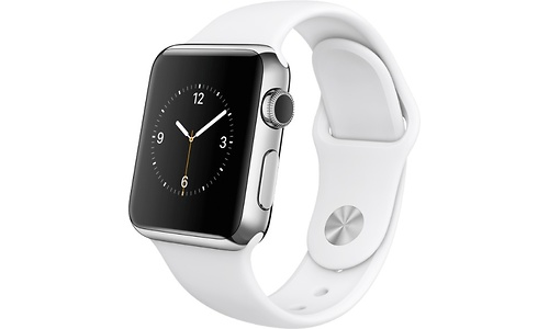 Apple Watch 38mm Stainless Steel Case, White Sport Band