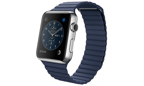 Apple Watch 42mm Stainless Steel Case Midnight Blue Leather Loop Large