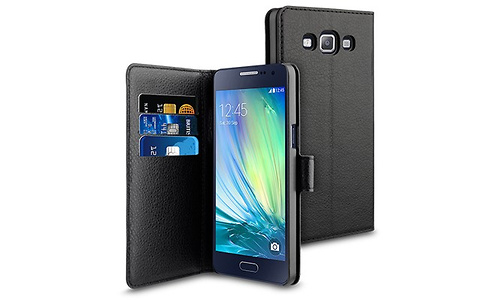 Muvit Galaxy A3 Wallet Case Whiteh 3 cardslots Black