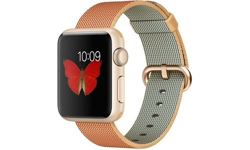 Apple Watch Sport 38mm Gold Aluminium Case Red Woven Nylon