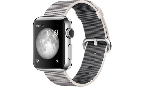 Apple Watch 38mm Stainless Steel Case, Pearl Woven