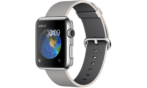Apple Watch 42mm Stainless Steel Case, Pearl Woven Nylon