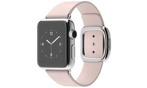 Apple Watch 38mm Medium Stainless Steel Case with Soft Pink Modern Buckle