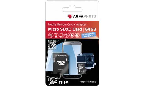 AgfaPhoto Professional MicroSDXC UHS-I U3 64GB + Adapter