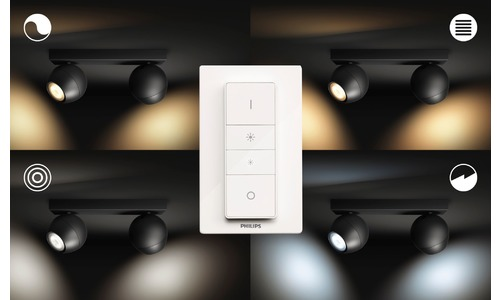 Philips Hue Buckram LED 2-Lamp Spot Black